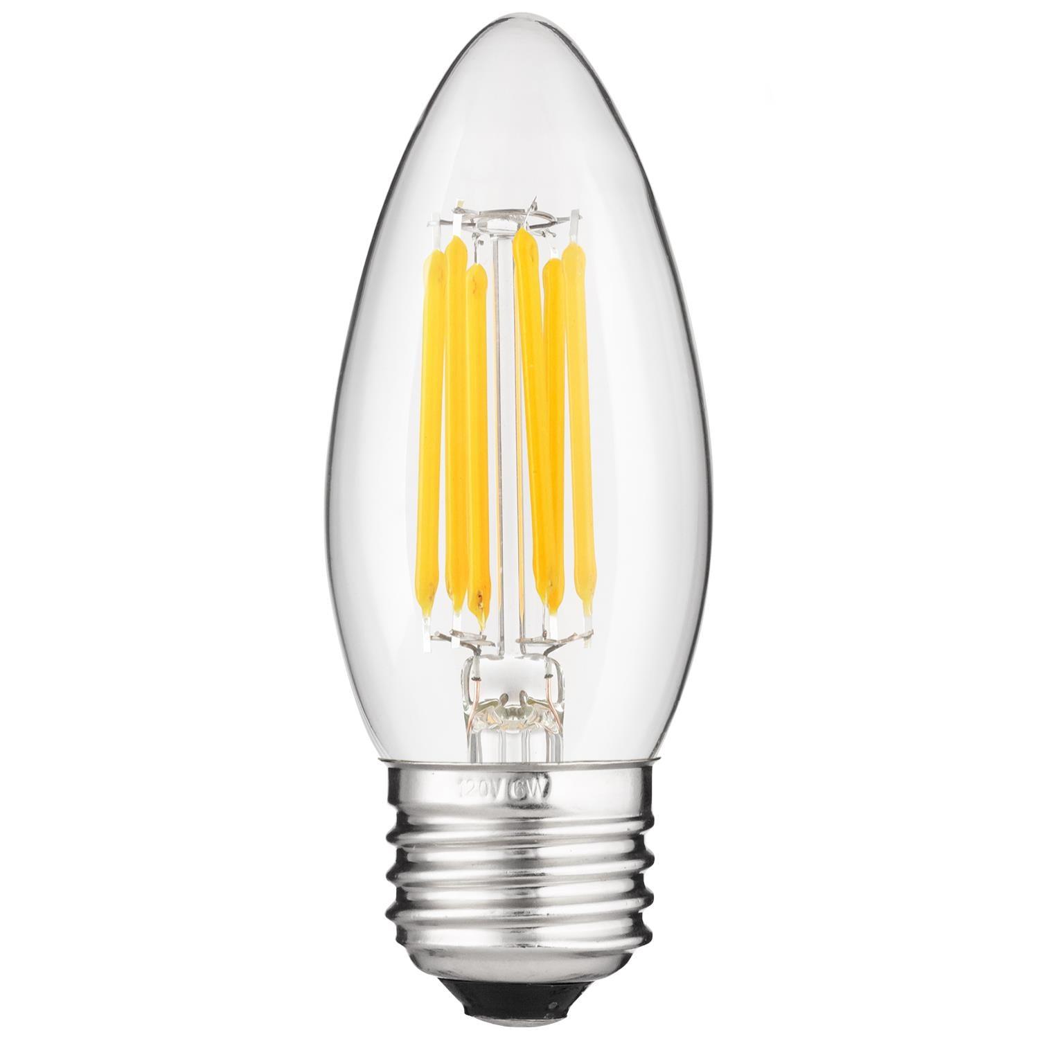 SUNLITE 5w E26 Medium Screw Base LED Filament B11 Torpedo Tip 2700K Warm White