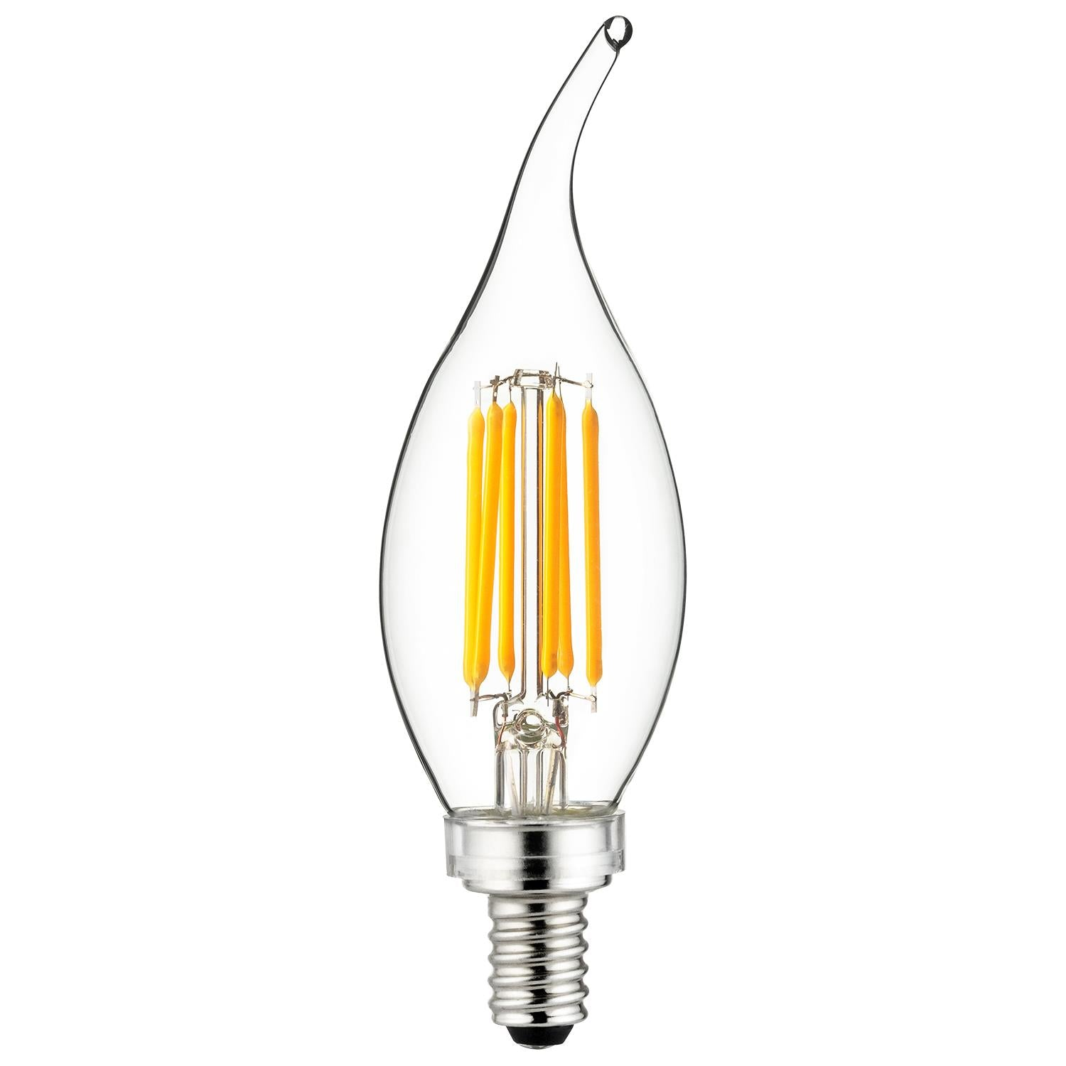 SUNLITE 5w E12 Candelabra LED Filament CA11 Flame Tip 2700K Warm White