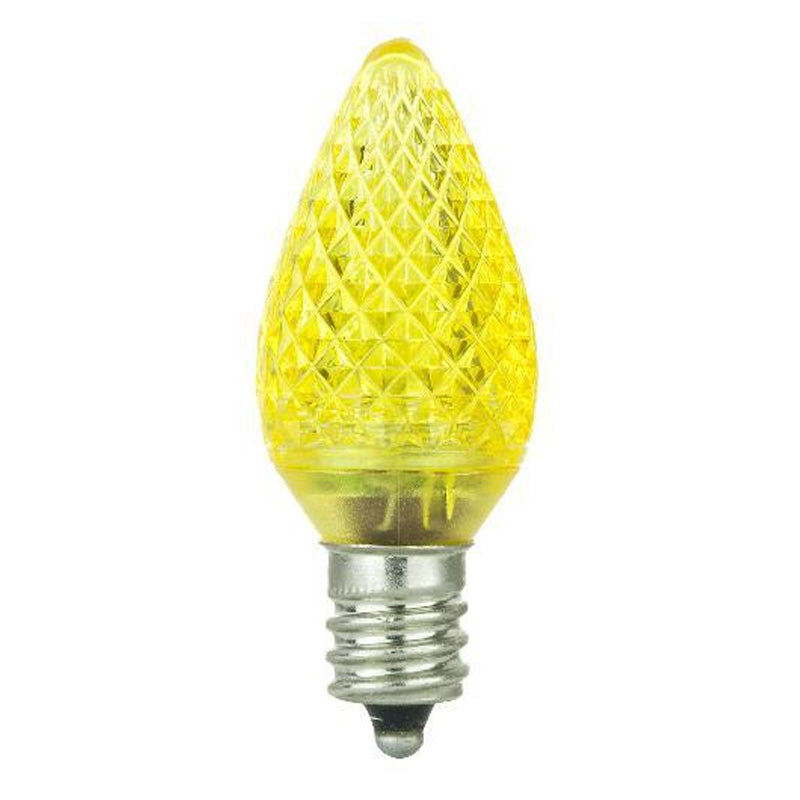 6Pk - Sunlite 0.4W 120V C7 Yellow E12 3LED Light Bulb