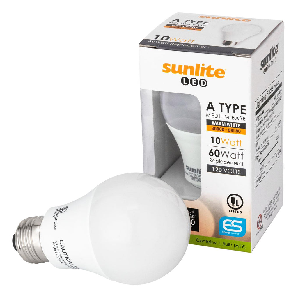 Sunlite 80710-SU LED A Type Household 10w Light Bulb Warm White 3000K