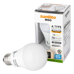Sunlite 80820-SU LED A19 Household 12w Light Bulbs Warm White 3000K