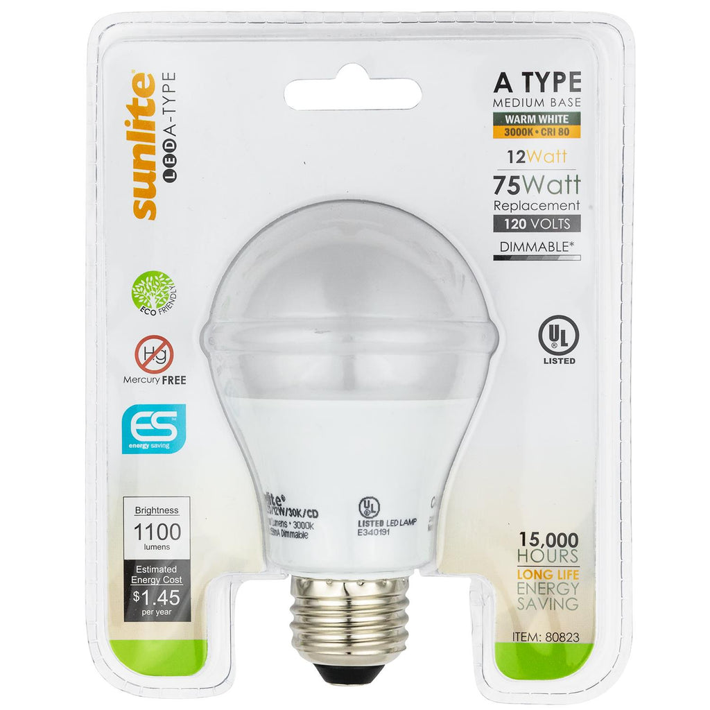 Sunlite 80825-SU A19 LED Household 12w Light Bulbs 6500K Cool White