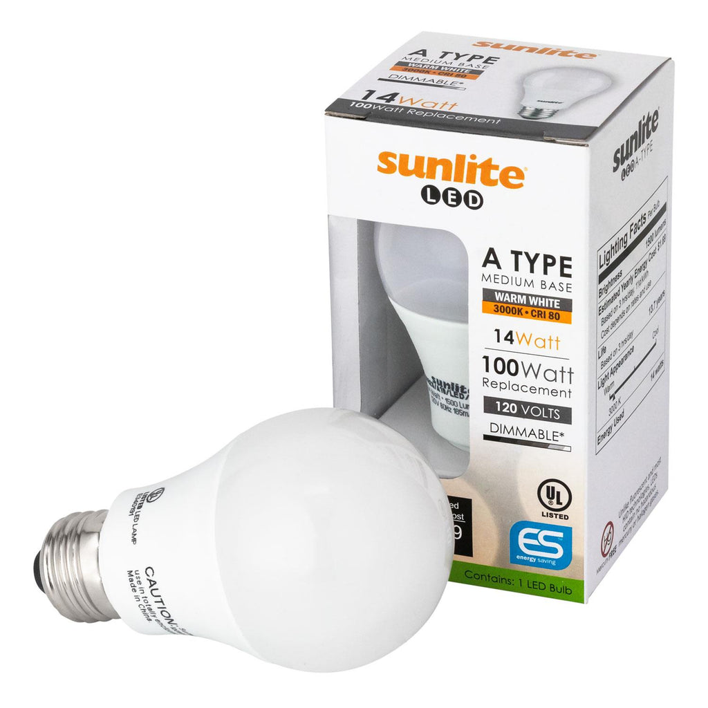 Sunlite 80826-SU LED A19 Household 14w Light Bulbs 3000K Warm White