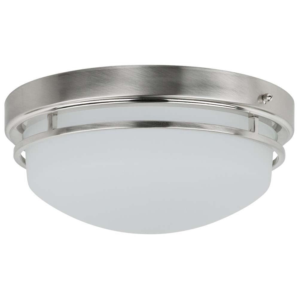 Sunlite 81037-SU LED Dome Ceiling Light Fixture Brushed Nickel Cool White 4000k