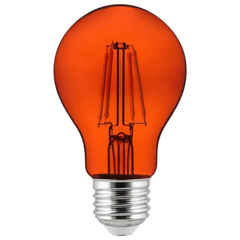 6Pk - SUNLITE Orange A19 LED 4.5W E26 Medium Base Filament Bulb
