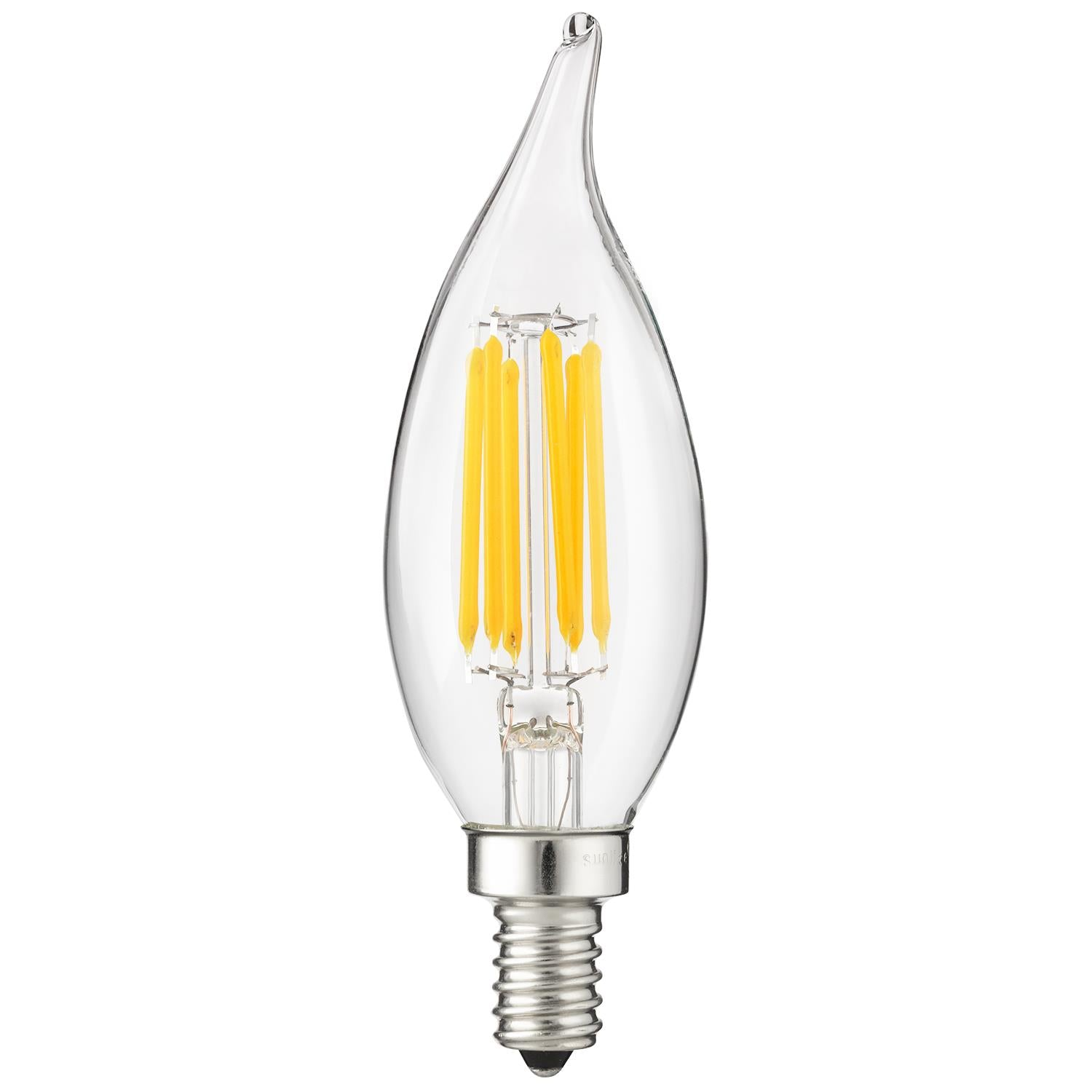 Sunlite 81105-SU 6 Watt Flame Tip Lamp Candelabra (E12) Base Super White 5000K