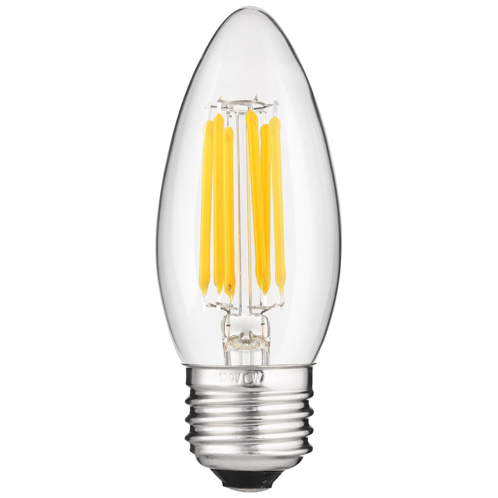 SUNLITE LED 6W 5000K Torpedo Tip E26 Base Antique Filament Super White Bulb