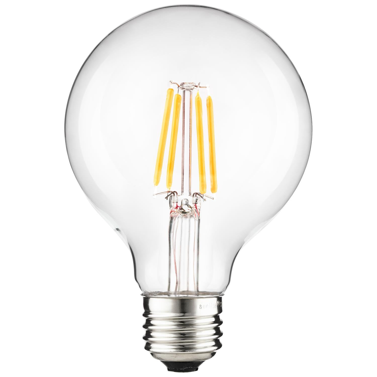 SUNLITE 6w (75w Equivalent) LED Filament G25 Dimmable 2200K Warm White