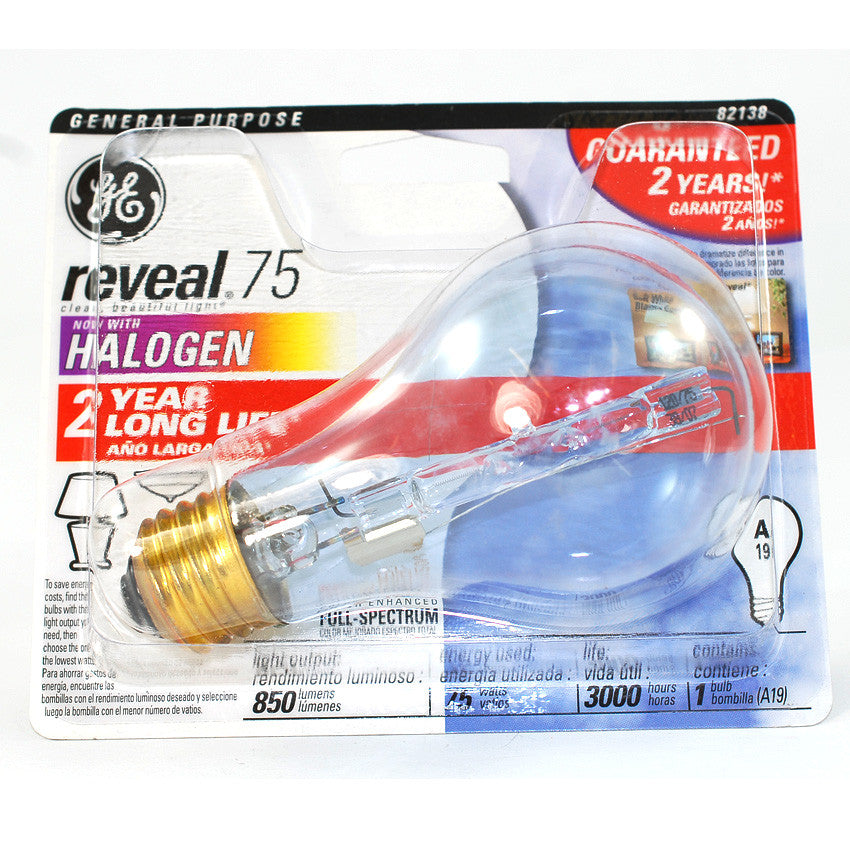 GE 75w 120v A19 Reveal Full Spectrum Halogen Light Bulb