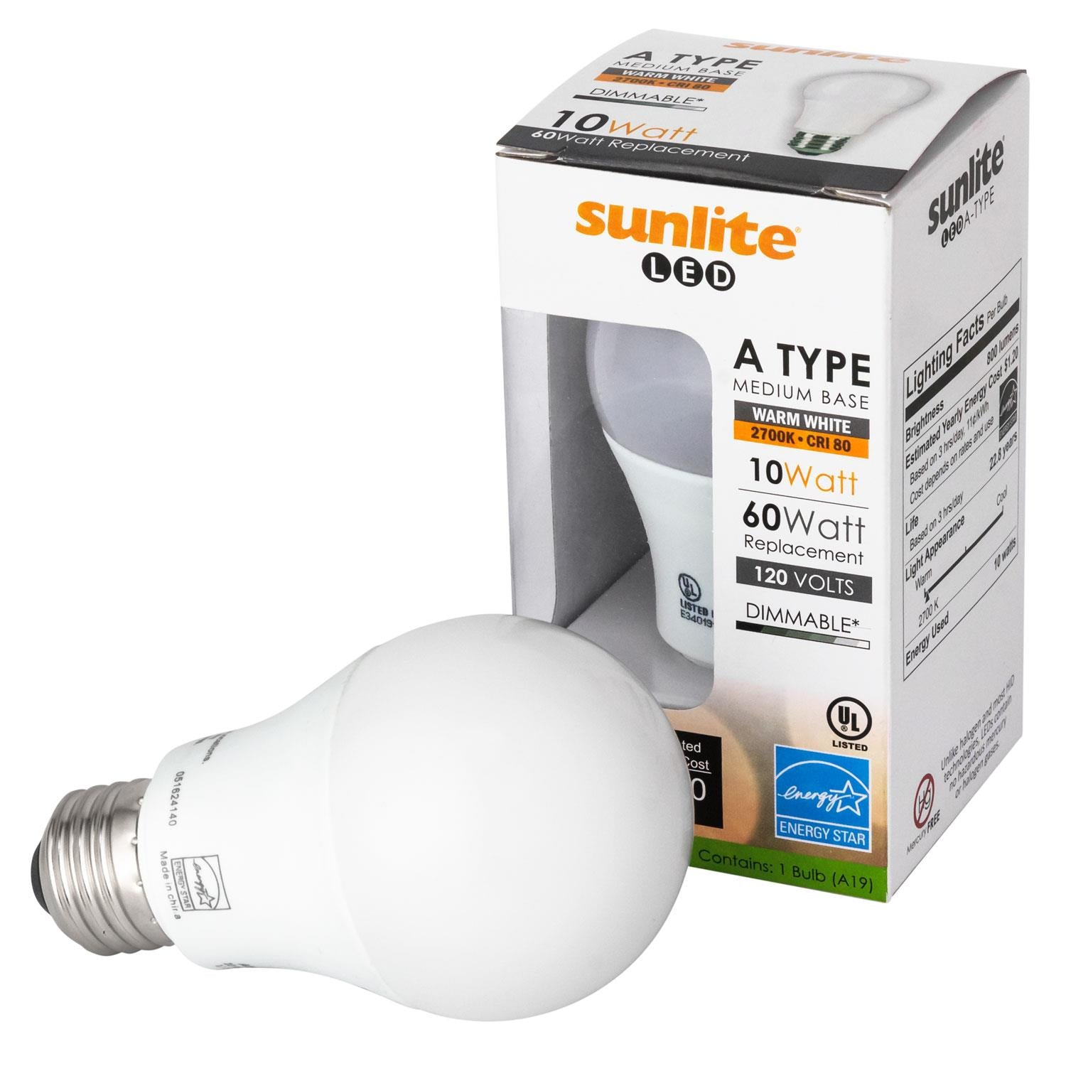 Sunlite 88301-SU LED A19 Household 10w Light Bulbs Warm White 3000K