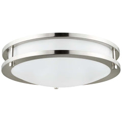 Sunlite 88319-SU 23w LED Flush Mount Fixture Brushed Nickel Super White 5000k