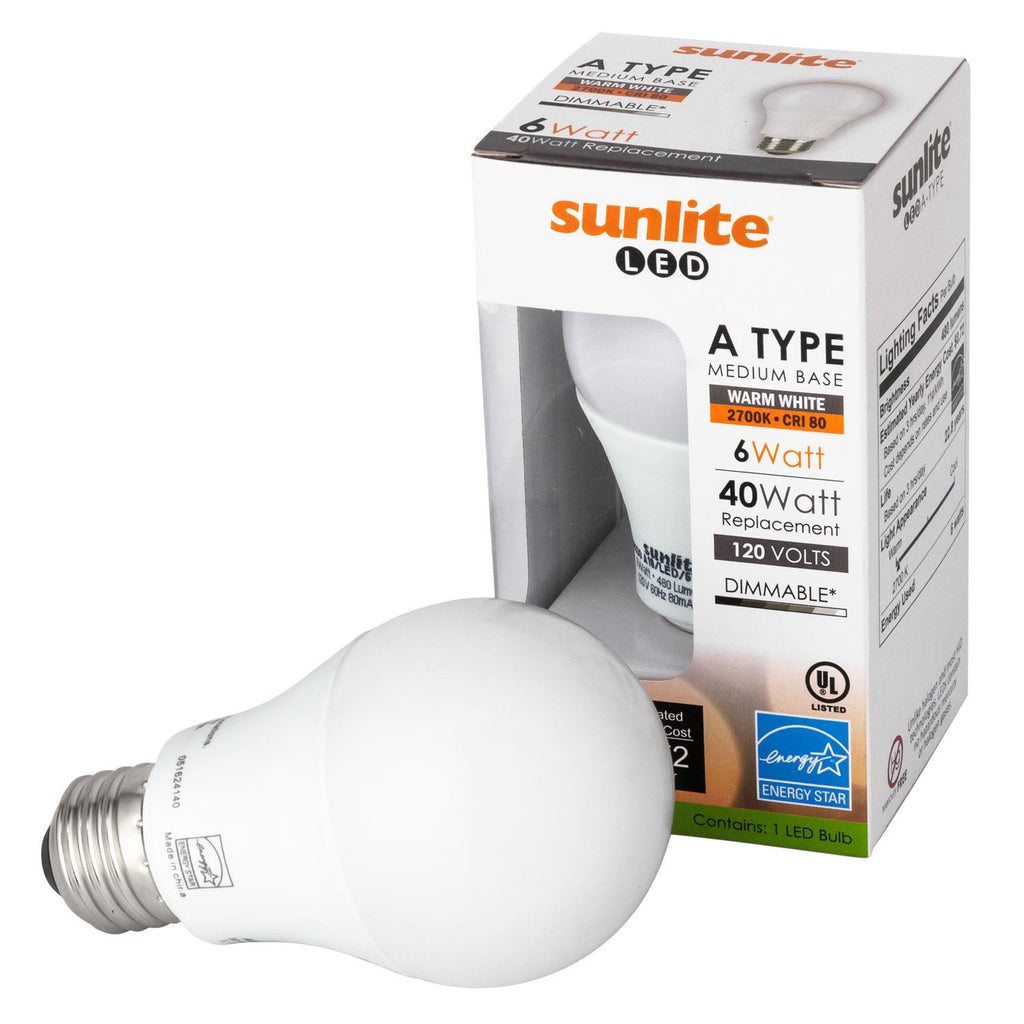 Sunlite 88330-SU LED Household 6w A19 Light Bulbs Dimmable 2700K Warm White