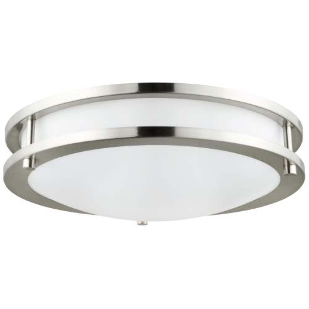 Sunlite 14-in Round LED Double Band Fixture CCT Tunable Brushed Nickel 120v