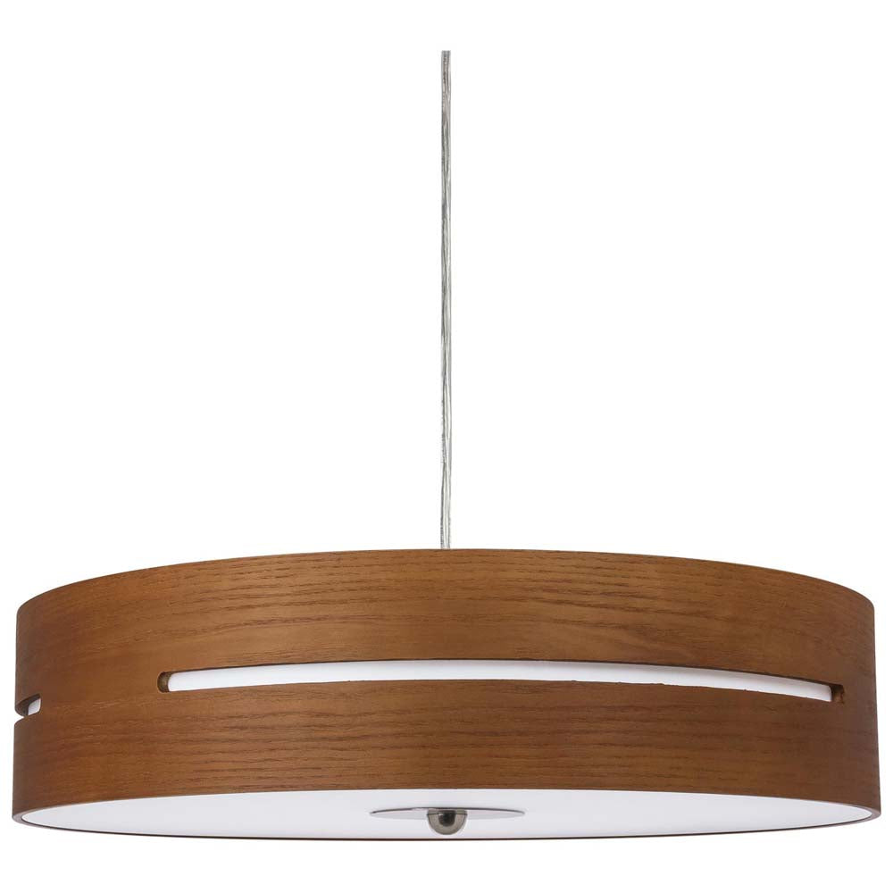 "Sunlite 88725-SU 23w 120v LED 20"" Wooden Drum Pendant Fixture Warm White 3000k"