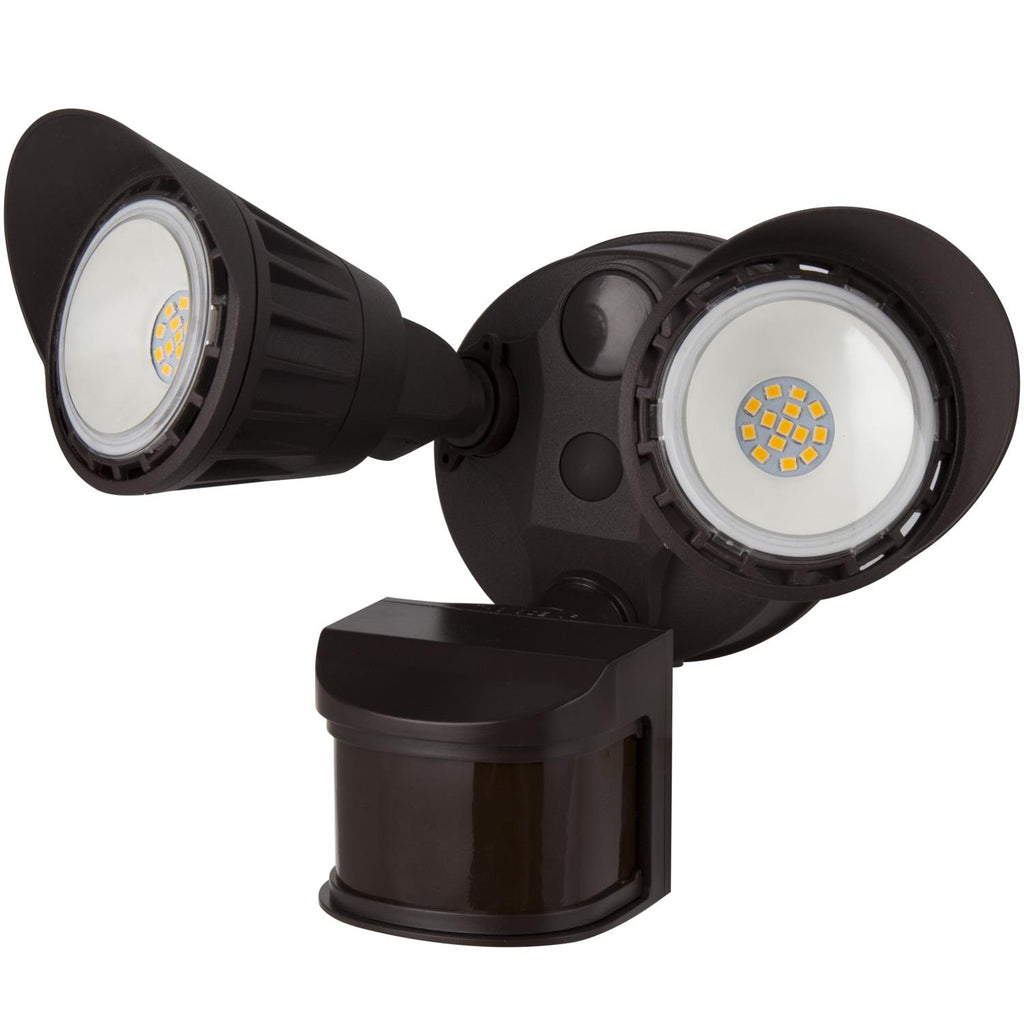 SUNLITE 20W LED Dual Head Security Light with Motion Sensor and Photocell Brown 3000K Warm White