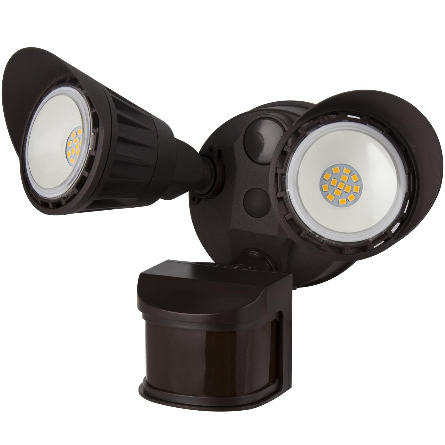 SUNLITE 20W LED Dual Head Security Light with Motion Sensor and Photocell Brown 5000K Super White