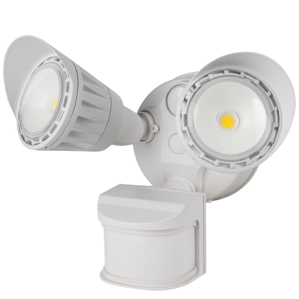 SUNLITE 20W LED Dual Head Security Light with Motion Sensor and Photocell White5000K Super White