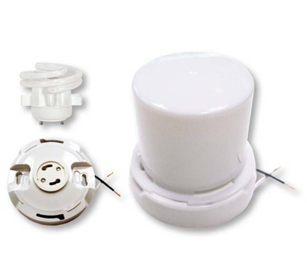 Satco 2Pc. 13w Gu24 Squat keyless Fixture w/ twist-on Lexan lens in White Finish