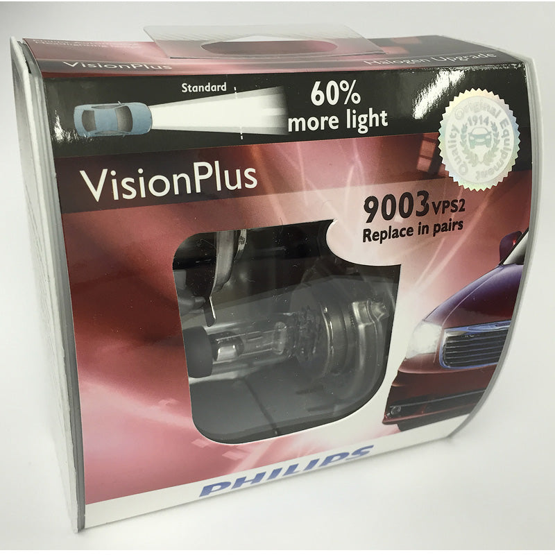 Philips 9003 HB2 H4 - Vision Plus Halogen Low and High Beam Headlight - 2 Pack