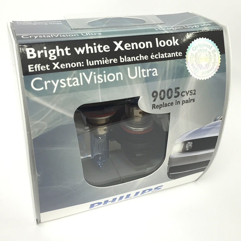 Philips 9005 - Crystal Vision Ultra Bright Halogen High Beam Headlight - 2 Pack