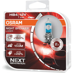 2-PK Osram 9006 HB4 Night Breaker Laser 51w 12v Automotive Bulb