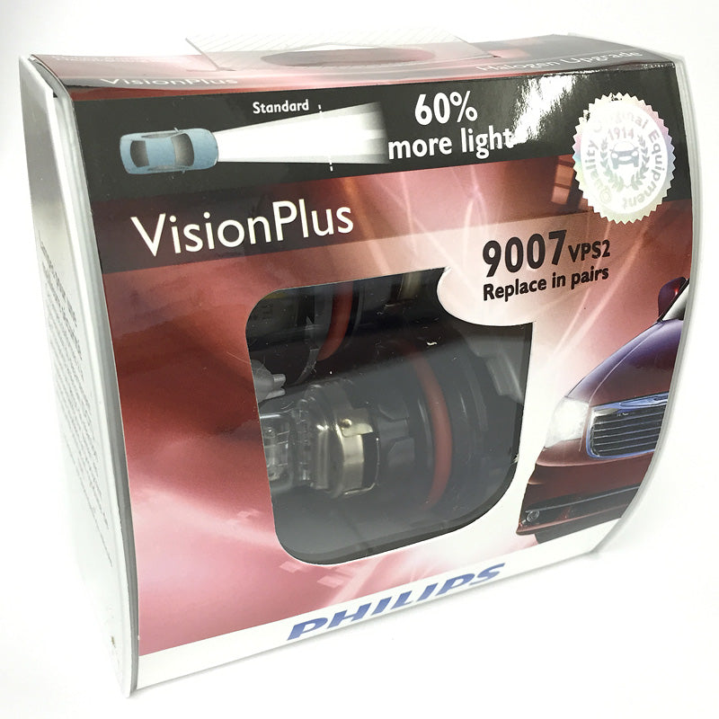 Philips 9007 HB5 - Vision Plus Low and High Headlamp 50ft Longer Beam - 2 bulbs
