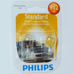 2 pk - Philips 912 - 13W 12v T5 W2.1X9.5D Wedge Base Automotive Lamp
