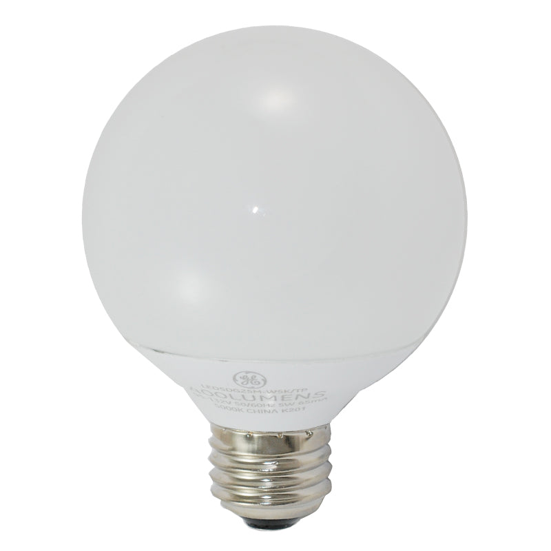 GE 92172 5w LED Dimmable E26 Globe G25 120v 5000k Daylight Light Bulb 40w equiv.