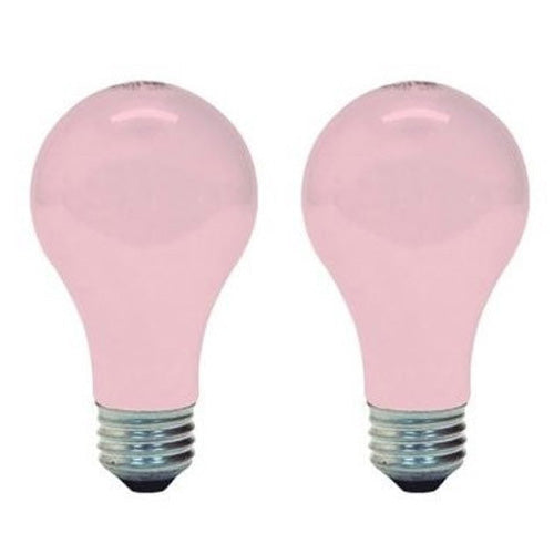 GE 97483 60W A19 Soft Pink tinted Incandescent light bulb - 2 bulbs
