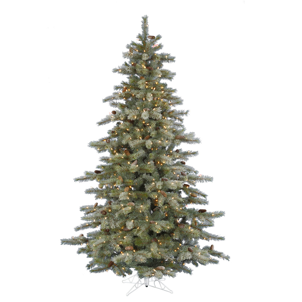 Vickerman 6.5Ft. Frosted 1030 Tips Christmas Tree 450 Multi-color Dura-Lit