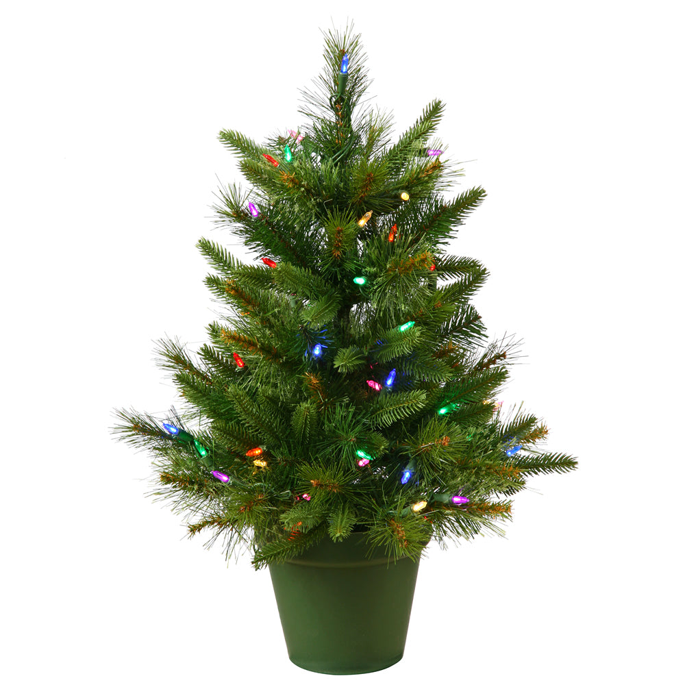 Vickerman 2Ft. Green 76 Tips Christmas Tree 50 Multi-color Dura-Lit