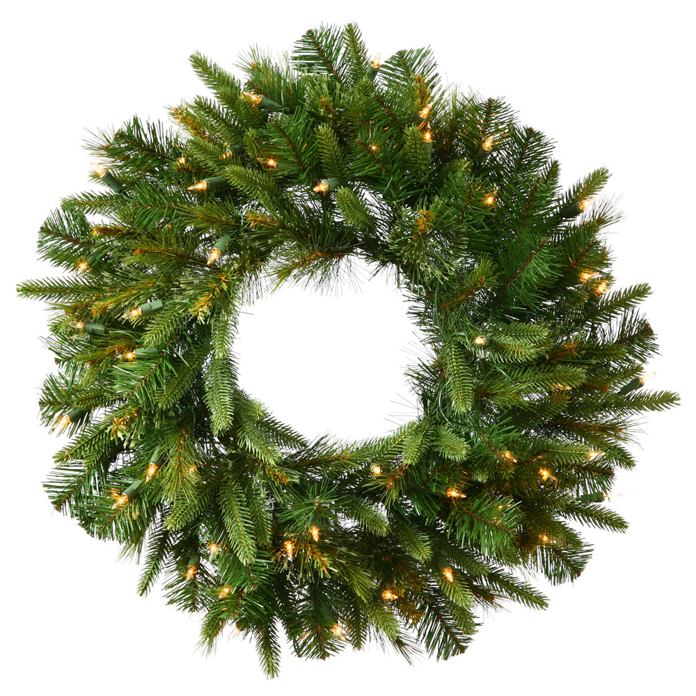 Vickerman 30in. Green 155T Wreath 30 Warm White Italian LED - Battery Operated