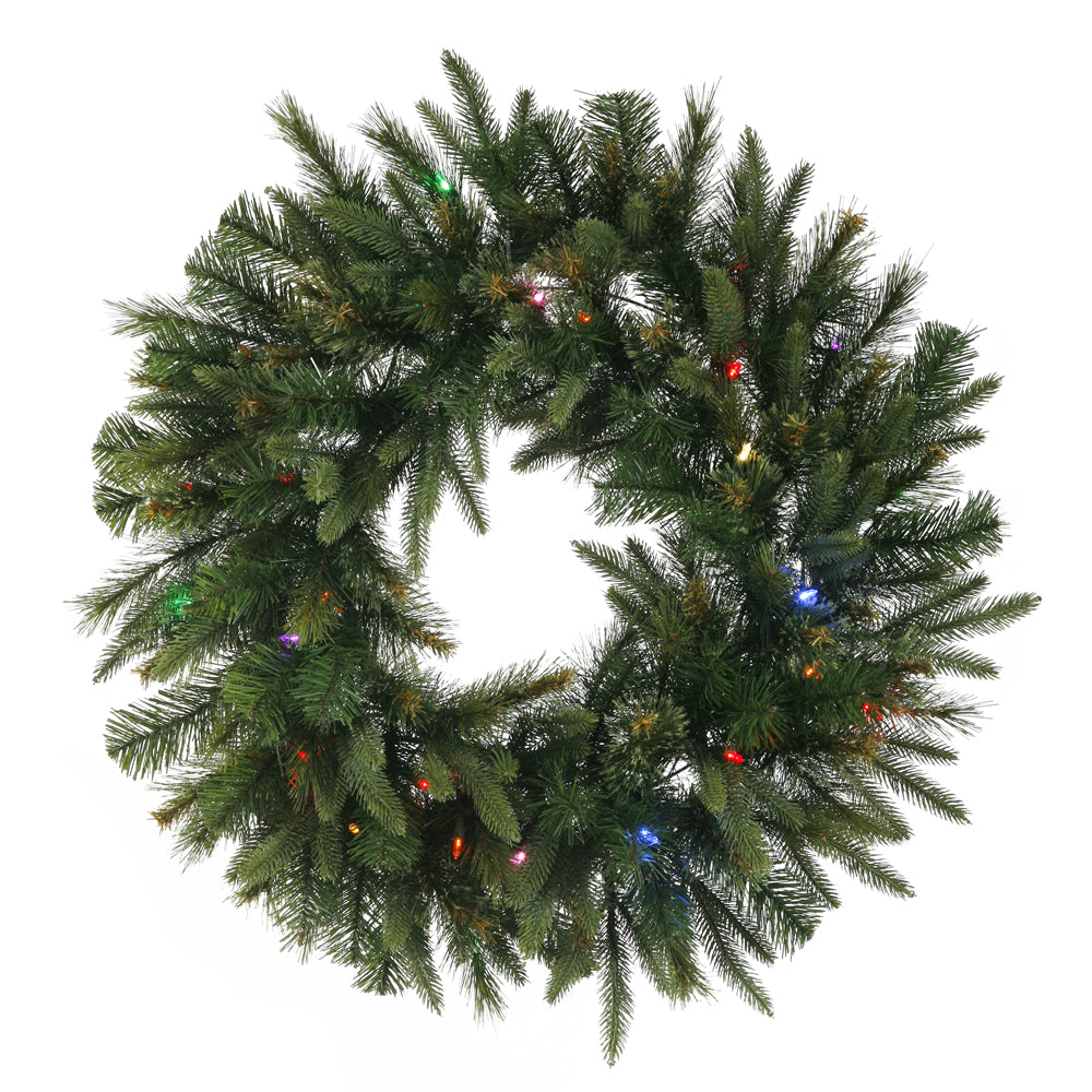 Vickerman 24in. Green 120 Tips Wreath 50 Multi-color Italian LED Lights