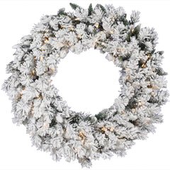 Vickerman 42in. Flocked 224 Tips Wreath 100 Clear Dura-Lit Lights