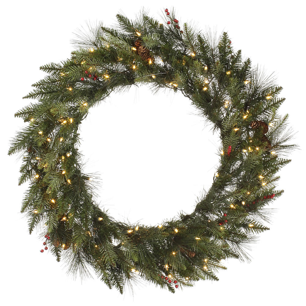"30"" Vallejo Mixed Pine Wreath 50WW LED"