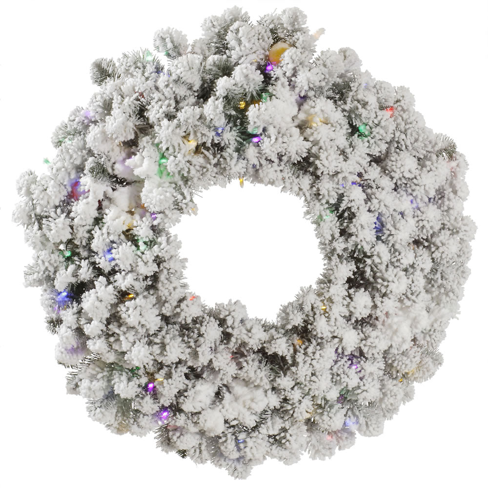 "30"" Flocked Kodiak Wreath 100 Multi Color+10 G40 Led"