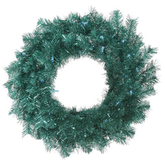 "30"" Aqua Tinsel Wreath 180T"