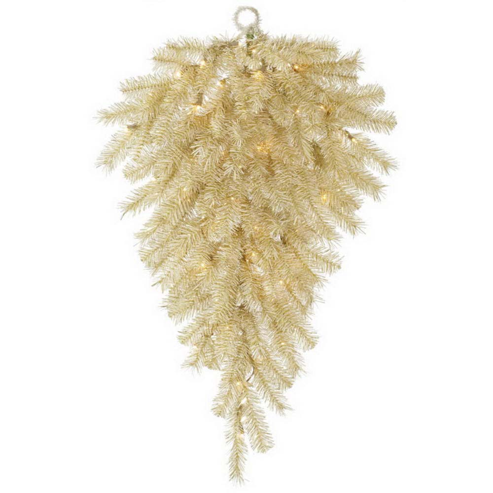 Vickerman 36 in. Gold Tinsel Teardrop 50 Warm White LED