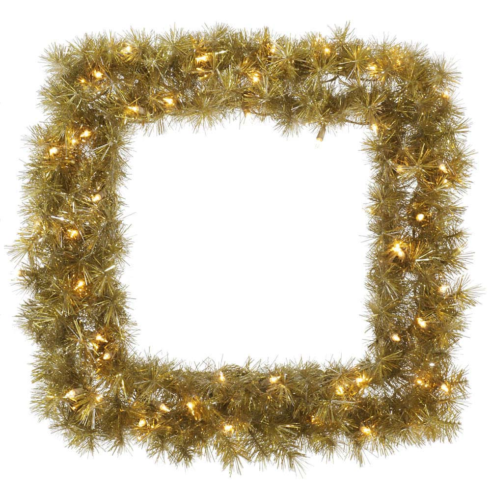 Vickerman 30 in. Gold/Silvr Tinsel Square Wreath 200T