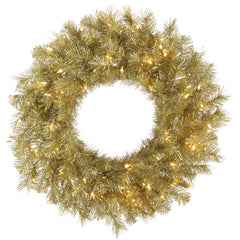 Vickerman 30 in. Gold/Silver Tinsel Wreath 50 Warm White LED