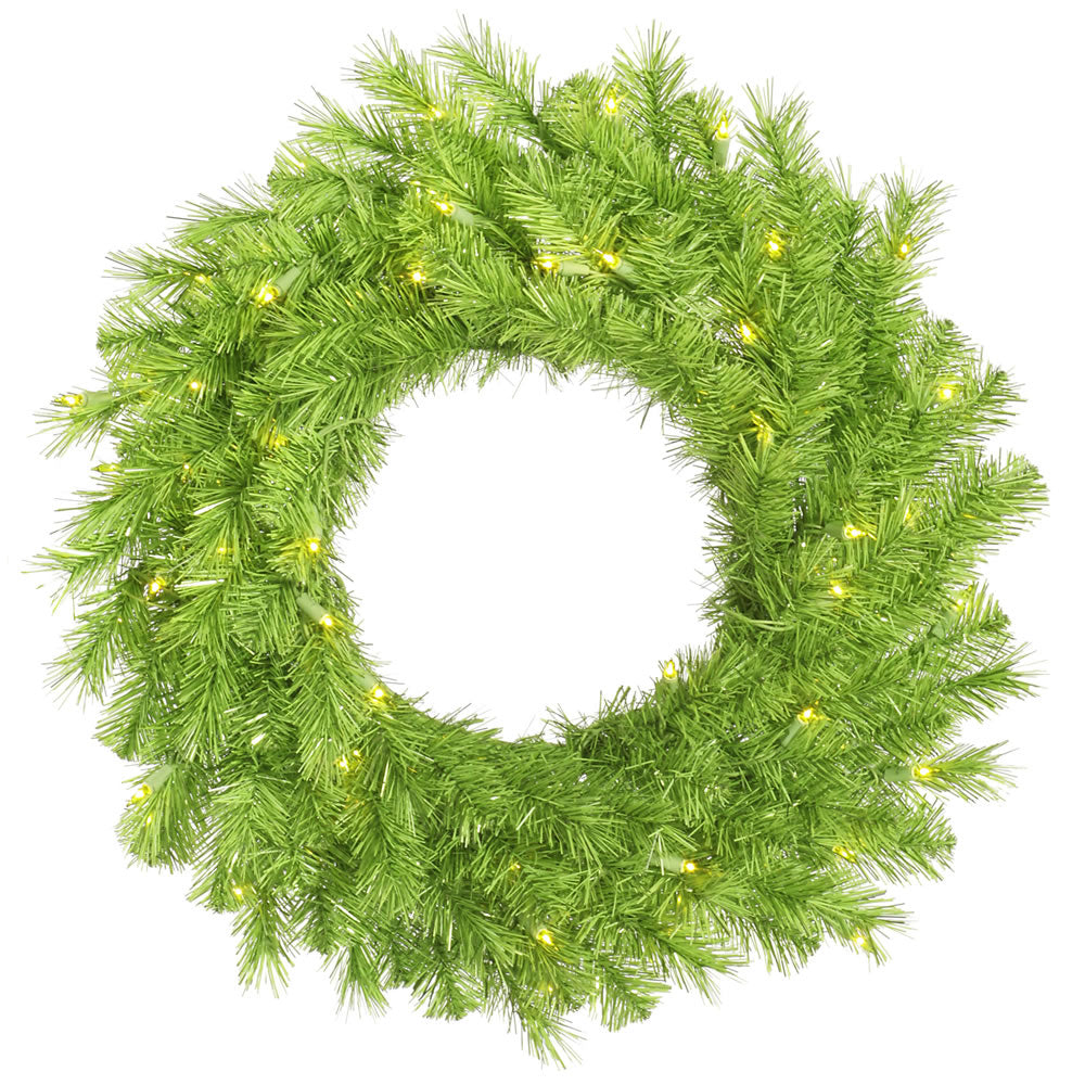 Vickerman 48 in. Lime/Green Tinsel Wreath 100Grn LED