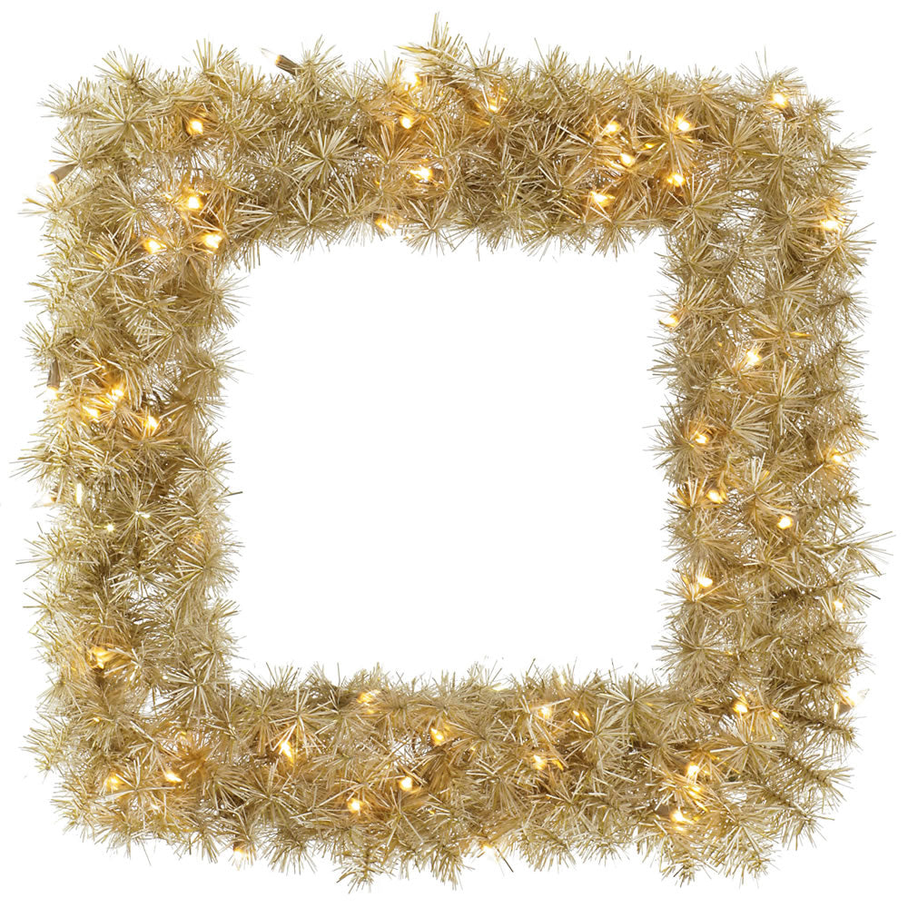 Vickerman 30 in. White/Gold Tinsel Sq Wreath 50 Warm White LED