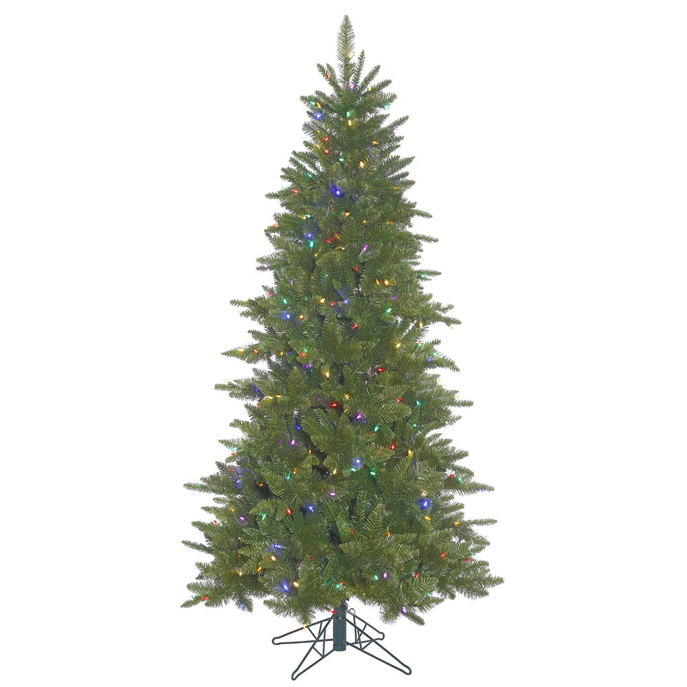 45Ft. Slim Durango Spruce Christmas Tree 514 Green PVC Tips 250 Multi LED Lights
