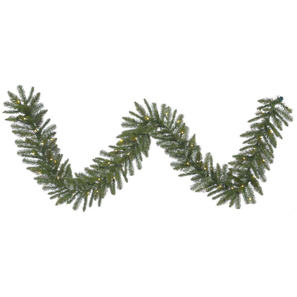 9Ft. x 12in. Durango Spruce Garland 210 Green PVC Tips 50 Warm White LED Lights