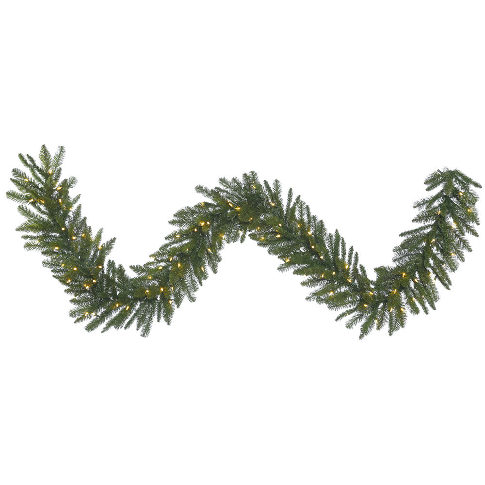 9Ft. x 14in. Durango Spruce Garland 240 Green PVC Tips 100 Warm White LED Lights