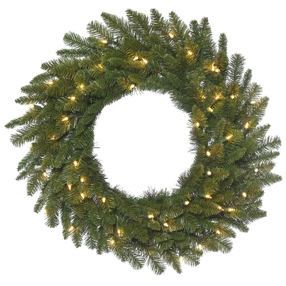 24in. Durango Spruce Wreath 135 Green PVC Tips 50 Clear Dura-Lit Lights