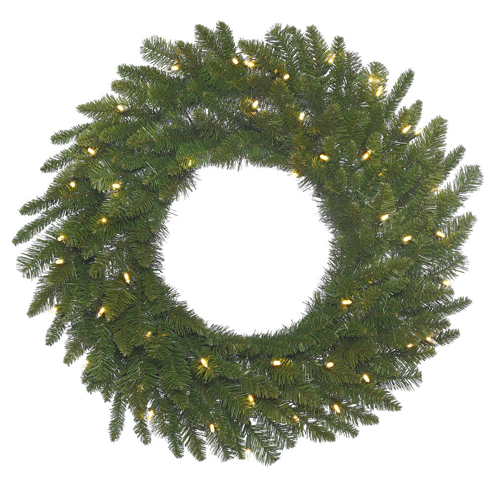 24in. Durango Spruce Wreath 135 Green PVC Tips 50 Warm White Italian LED Lights