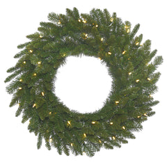 30in. Durango Spruce Wreath 180 Green PVC Tips 50 Warm White Italian LED Lights