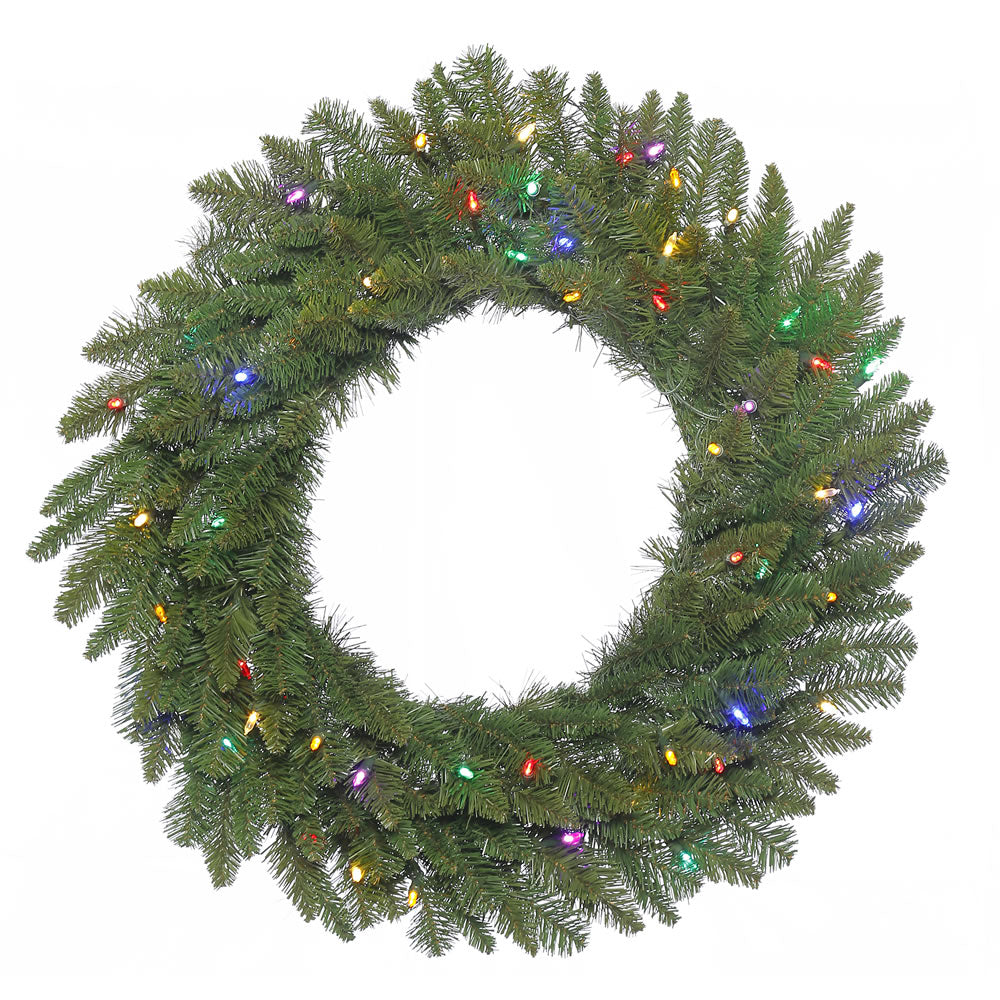 36in. Durango Spruce Wreath 240 Green PVC Tips 100 Multi LED Lights