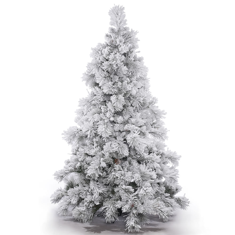 15Ft. Flocked Alberta Christmas Tree 339 Pine Cones 6394 Flocked PVC Tips